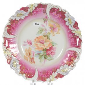 """11 1/2"""" Unmarked R.s.prussia Poppy Mold Cake Plate"""