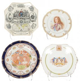 (4) Plates Featuring Commemoration Of Royalty