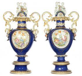 """Pair 33"""" X 17"""" Italian Faience Two-handled Covered Urns"""
