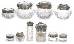 (10) Cut Glass Vanity Boxes With Sterling Lids Of