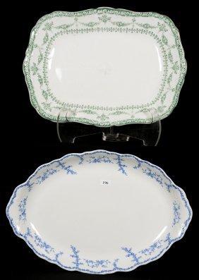 (2) Stoneware Platters/trays