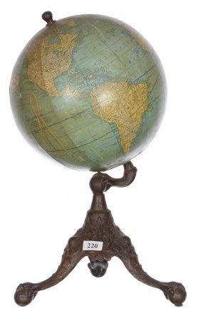 "14 1/2"" Vintage Rand-mcnally 8"" Globe On Cast Iron"