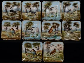 "(10) 7 1/2"" Limoges Square Game Bird Plates"