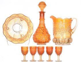 (8) Marigold Carnival Glass Items