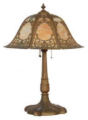 "23"" X 18"" Eight-sided Bell Shaped Slag Glass Table Lamp"