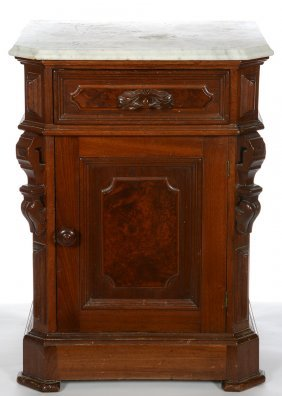 "29"" X 18"" Marble Top Victorian Burl Walnut Night Stand"