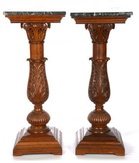 """Pair 43"""" X 17 1/2"""" Carved Oak Pedestals With"""