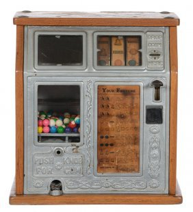 "Coin Operated Gum Ball ""fortune Teller"" Machine"