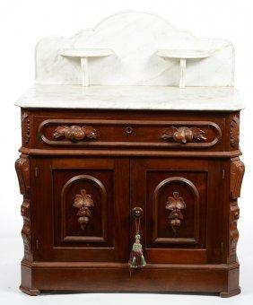 "42"" X 33 1/2"" Victorian Walnut Wash Stand"