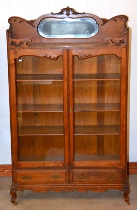 "75"" X 46"" Walnut Library Cabinet"