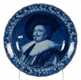 "16"" Marked Delft Blue And White Portrait Charger -"