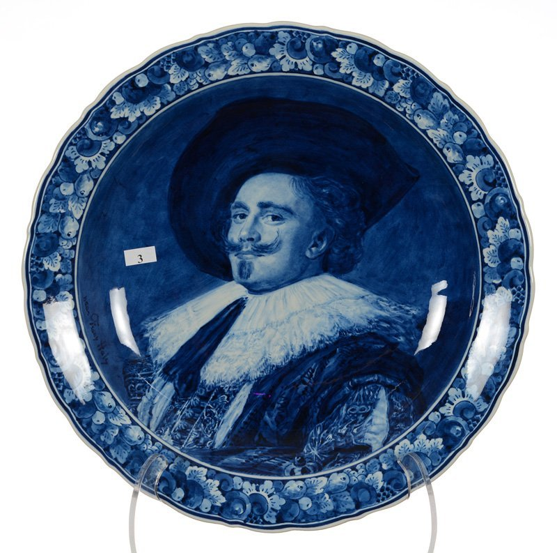 """16"""" Marked Delft Blue And White Portrait Charger -"""