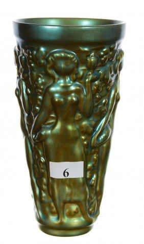 "6 3/8"" Marked Zsolnay Iridescent Art Pottery Tall Glass"