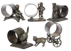 (5) Victorian Figural Silverplate Napkin Ring Holders -