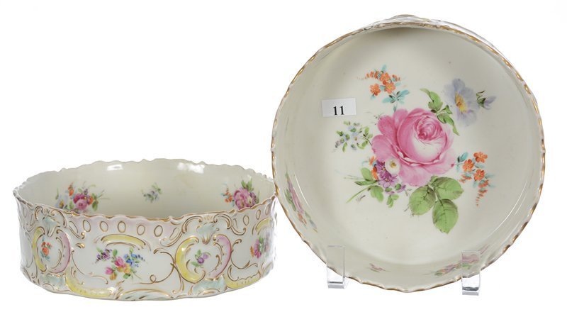 """(2) 2 1/4"""" X 7 3/4"""" Meissen Style Straight Sided Bowls"""