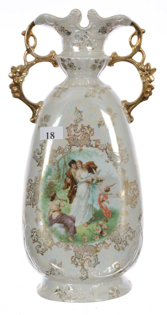 """11"""" Unmarked Austria Two Handled Vase - Pearlescent"""