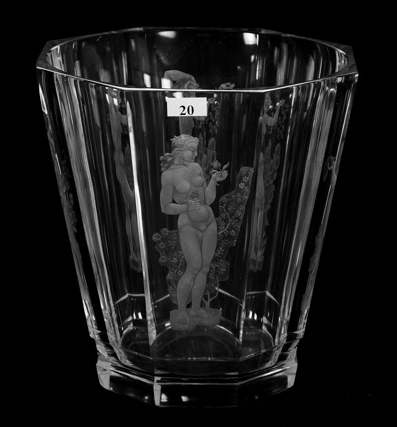 """9"""" X 9"""" Signed Orrefors, Eight Sided Engraved Crystal"""