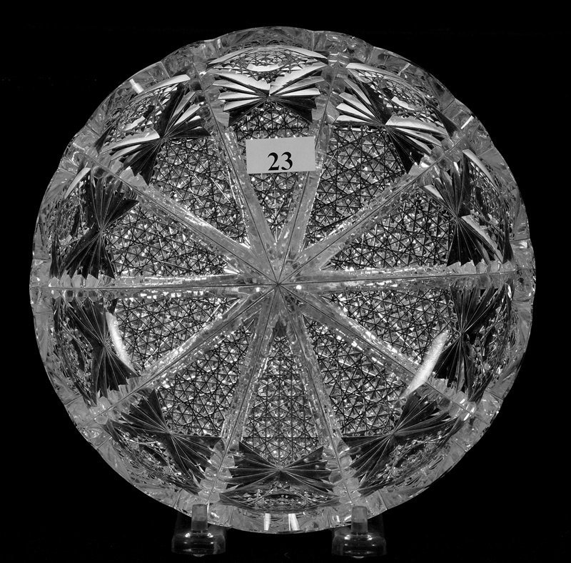 """7"""" Signed Hawkes American Brilliant Cut Glass Low Bowl"""