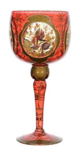 "12 1/2"" Cranberry Art Glass Chalice - Handpainted"