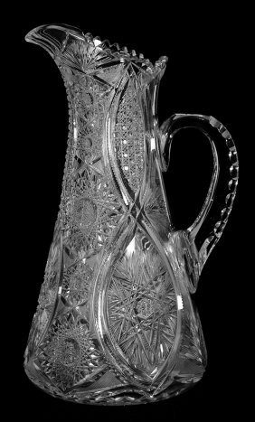 "13 1/2"" American Brilliant Cut Glass Tankard - Hobstar,"