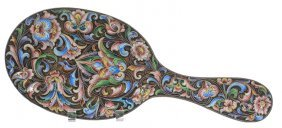 "9"" Russian Silver And Enamel Hand Mirror - Elaborate"