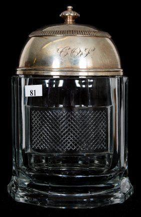 "9"" Early Pattern Glass Humidor - Ten Sided With Lattice"
