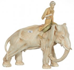 """13"""" X 13"""" Unmarked Royal Dux Mid-size Figural Elephant"""