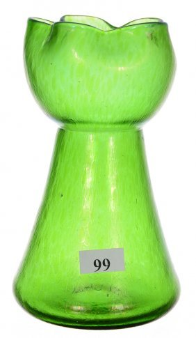 "6 3/4"" Unmarked Loetz Art Glass Vase - Green Iridescent"