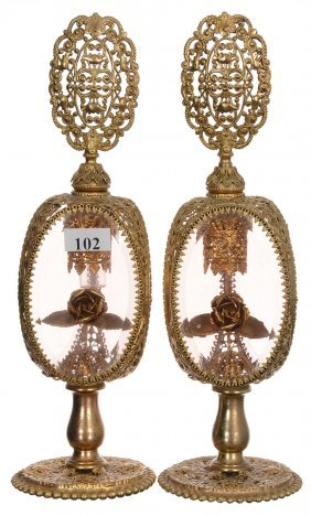 "Pair 10 1/2"" Ornate Gilt Metal Pedestal Perfume Bottles"