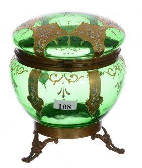 "6 1/2"" X 5 1/4"" Green Art Glass Round Hinged Dresser"