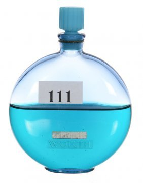"3 3/4"" Marked ""r. Lalique"" Blue Glass Perfume Bottle -"