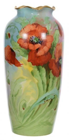 """10 1/2"""" Marked Austria Handpainted Vase - Green And"""