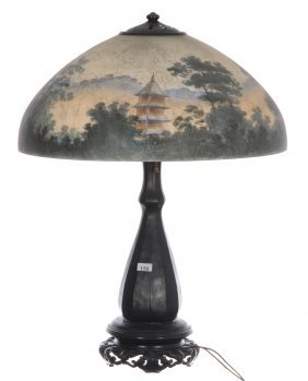 "23 1/2"" X 18"" Marked Handel Reverse Painted Table Lamp"