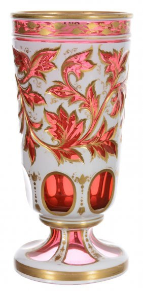 """7 1/4"""" Bohemian Cranberry Art Glass Goblet With White"""