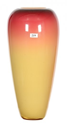 "14 1/2"" Wheeling Peachblow Art Glass Vase - Strong"