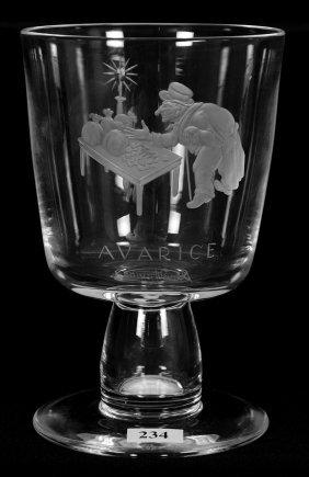 """7 1/4"""" Signed Steuben Engraved Crystal Chalice - Scene"""