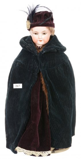 "16"" German Armand Marseille Bisque Doll - Winter Cloak"