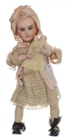 "11"" French Bisque Mechanical Doll - Marked ""petite"