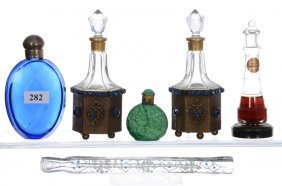 """(6) Perfume Items - Includes - (1) 4"""" Cobalt Blue Flask"""