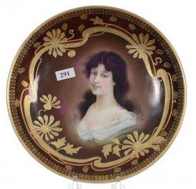 "9 1/2"" Marked Royal Vienna Portrait Plate - Brown"