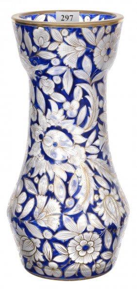 "10 3/4"" Bohemian Art Glass Vase - Clear Crystal Body"