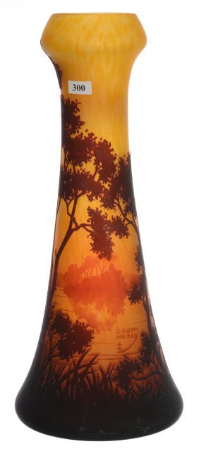 "16"" Signed Daum Nancy French Cameo Art Glass Vase -"