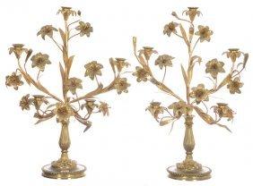 """Pair 21"""" X 16"""" Brass Figural Five-arm Candelabrum -"""