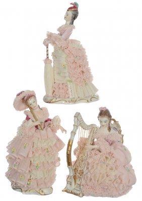 (3) Irish Dresden Figurines W/ Elaborate Lace Decor -