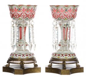 """Pair 16"""" Bohemian Candle Lustres On Metal Bases -"""