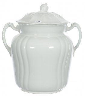 """13 1/2"""" White Ironstone Two-handled Covered Slop Jar -"""