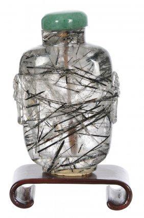 "2 1/2"" Tourmaline Crystal Snuff Bottle - Green Stone"