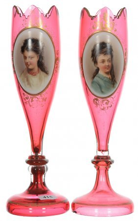 "Pair 10 3/4"" Bohemian Cranberry Art Glass Tulip Shaped"