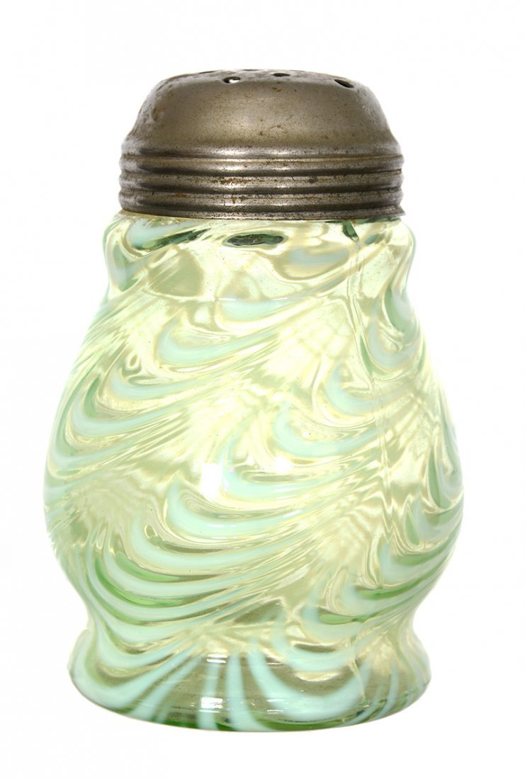 "4 3/4"" VASELINE OPALESCENT ART GLASS SUGAR SHAKER"