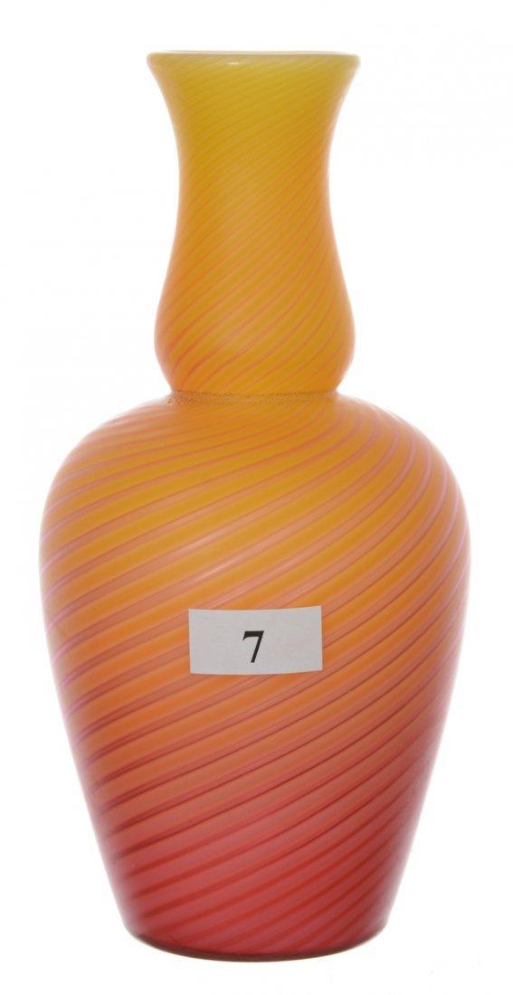 "7"" UNMARKED STEVENS & WILLIAMS POMPEIAN SWIRL ART GLASS"